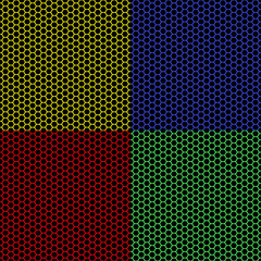 Four colorful hexagons on black background