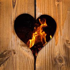 Feu, coeur en bois