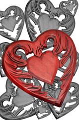 Viele Herzen aus Holz