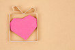 Hand made gift box with heart inside, textured  paper