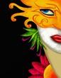 viso di donna con maschera carnevalesca