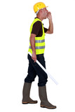construction site supervisor shouting poster