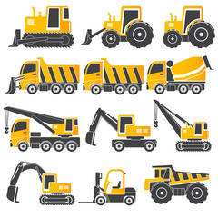 Heavy duty machines ,gray  & yellow icon set