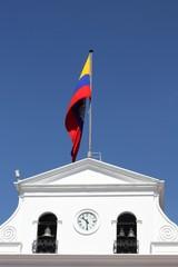 Government building and waving flag of Ecuador