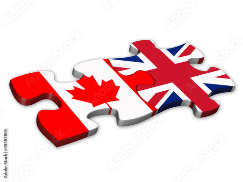 Canadian & UK Flags (Canadian English translation jigsaw)