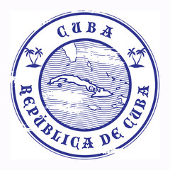 Grunge rubber stamp with the name and map of Cuba, vector