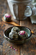 Green tea balls with lychee flowers