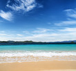 White sand beach and blue sky