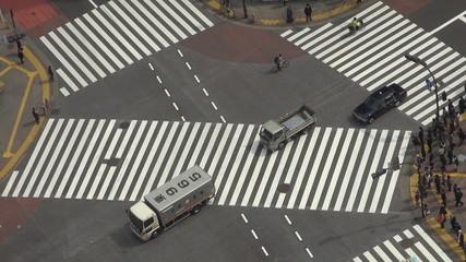 Fast motion of Shibuya pedestrian crossing,car traffic by day