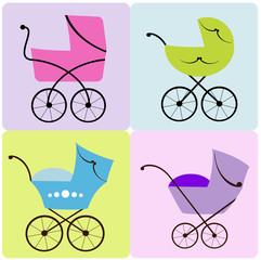 Set of colorful baby strollers