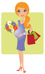 Young happy pregnant woman wiht a bunch of flowers