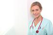 Female nurse in hospital scrubs