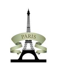 Eiffel Tower. Emblem of Paris with ribbon.