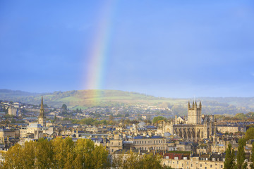 Rainbow Over City of Bath, England, UK