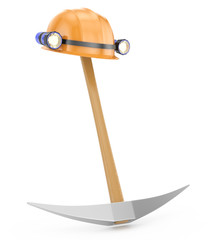 miner's helmet and pickaxe