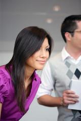 asian businesswoman meeting customer