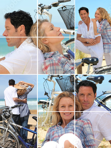 Collage of a couple with bikes by the sea