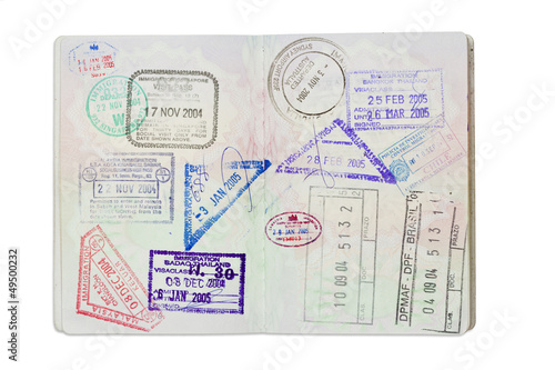 Stamps inside a UK Passport with clipping path