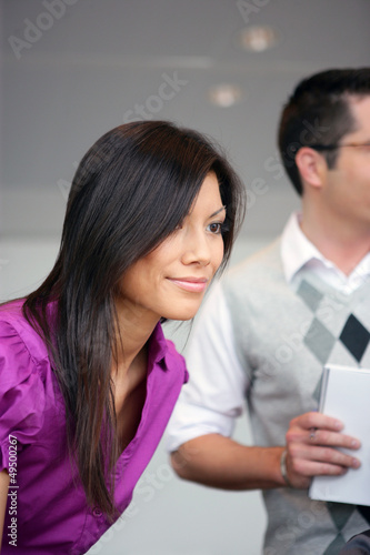 asian businesswoman meeting customer