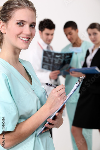 Medical team with a clipboard