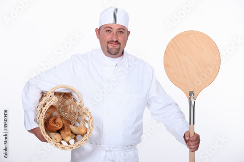 Baker with basket and paddle
