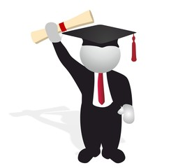 successful graduate holding diploma - vector