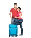 couple with suitcase  going to travel