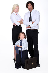 Family dressed in business clothing