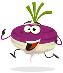 Cartoon Happy Turnip Character Running