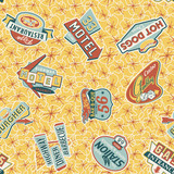 Sixties shop sign boards - vector seamless pattern