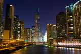 Chicago River with riverwalk at night, IL, USA