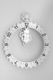 White clock with gears