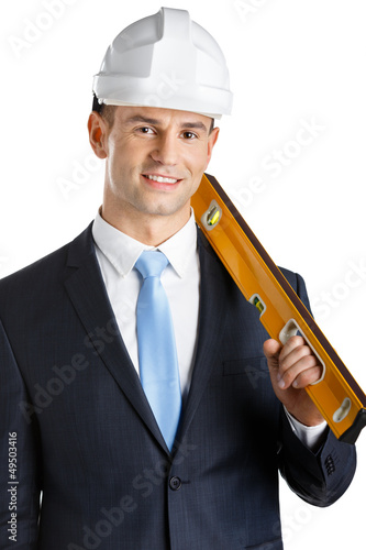Engineer in headpiece keeps level, isolated on white
