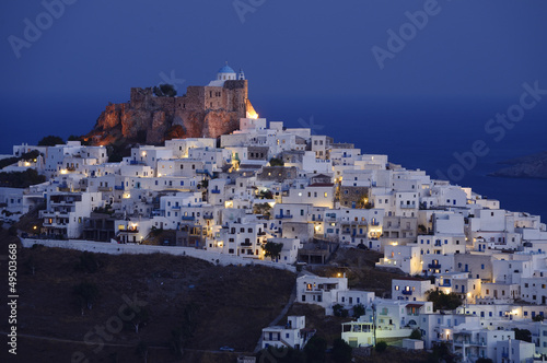 night view of Astypalaia Chora