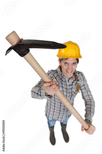 Woman holding pickaxe