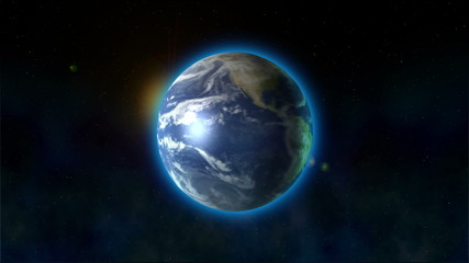 Earth's rotations. The blue planet rotates in space