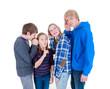 Teenager spielen stille Post