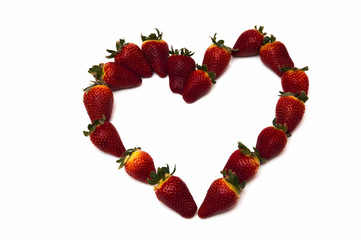 fresh strawberries in heart shape