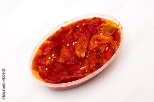 bowl of red peppers