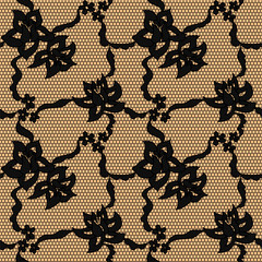 Black lace vector fabric seamless pattern with lines and flowers