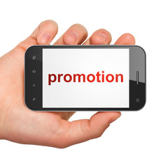 Advertising concept: smartphone with Promotion