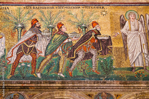 Mosaic the three magi in Sant Apollinare Nuovo in Ravenna
