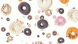 Donuts falling down on white background