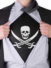 Business man with Pirate flag t-shirt