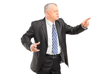 Angry boss having arguing and pointing with finger