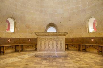 Templar court in Veracruz medieval church Segovia, Spain
