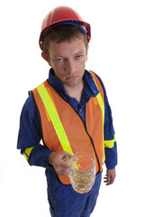 worker with beer in hand