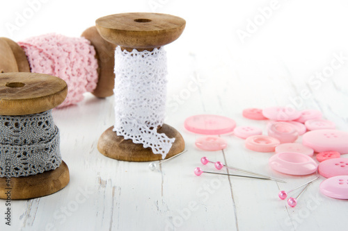 Sewing tools with buttons and lace