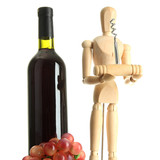 Mannequin with corkscrew and wine bottle, isolated on  white