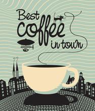bannière avec une tasse et les mots meilleur café en ville